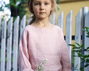 Pink top for girls boys children summer, toddler blouse, toddler sweater, girls linen blouse, girls linen top, toddler shirt, girls clothes