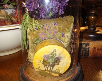 Beautiful footed Victorian Glass Cloche or Bell Jar with wood base