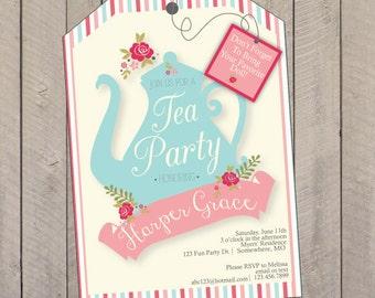 Tea Party Birthday Party Invitation, Tea Party Invitation, Doll Tea Party Invitation, Doll Printed Invitations
