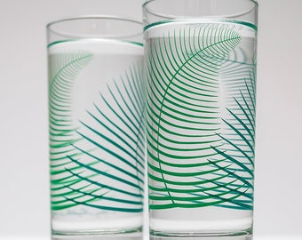 Green Fern Glassware - Set of 2 Everyday Drinking Glasses, Summer Glassware, Summer Glasses, Cocktail Glasses Tropical Ferns Tropical Leaves