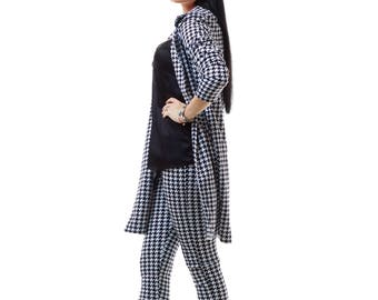 Blazer and leggings set Pattern suit Patterned suit Black and white blazer suit Black and white blazer pants set Pattern matching set