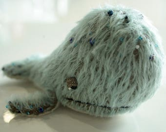 Stuffed humpback blue whale toy for lover's gift or decor in handmade tiny plush whale's nursery