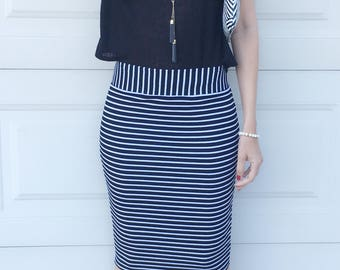 SALE Black White Horizontal Stripe Fitted Pencil Skirt