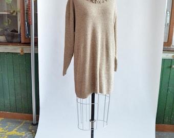Vintage 1980s FRINGED silk wool sweater dress