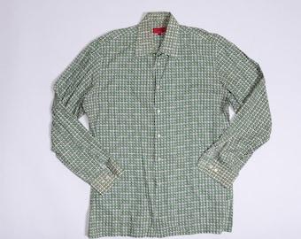 HUGO BOSS Men's Green Patterned Button up / Dress Shirt