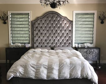 Tall Tufted Bed King Queen Full Twin Extra Tall California King Upholstered  Tufted Bed Frame Tempurpedic