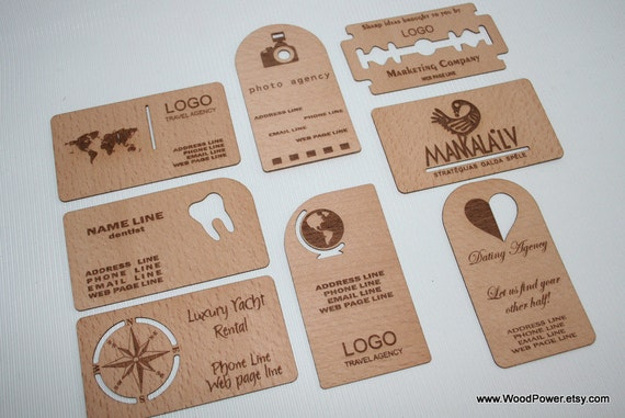 Wooden business card unique design set of 10 custom reheart Choice Image