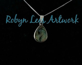 Sterling Silver 925 & Abalone Shell Teardrop Necklace on Fine 925 Sterling Silver Chain