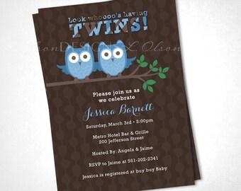 Look Whooo's Having Twins Baby Shower Invitation - Blue - DIY Printable