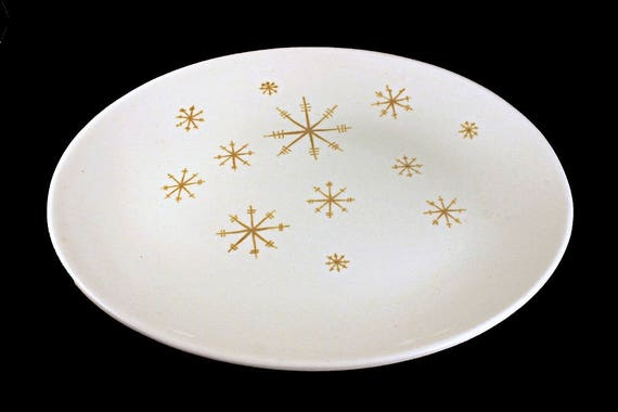 Oval Platter, Royal China (USA), Crystal Pattern, Gold Star Design, White and Gold, 13-Inch
