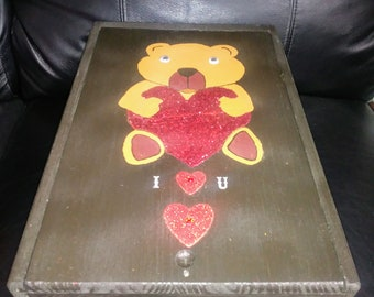 Bear with Heart Painted Wine Box