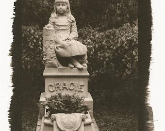 Gracie Watson Grave Bonaventure Cemetery Savannah Palladium Toned Kallitype Matted Photograph
