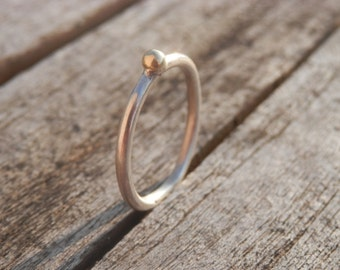 Ring Sterling Silver and 14k Gold Ball Simple, Discreet, Minimalist