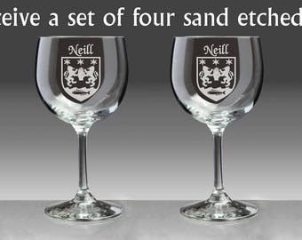 Neill Irish Coat of Arms Red Wine Glasses - Set of 4 (Sand Etched)