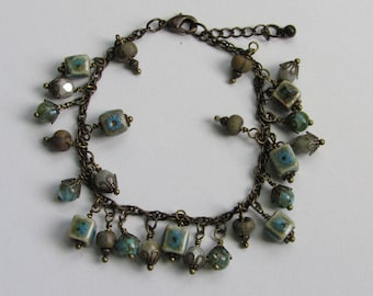 Unique, One of a kind Cluster Bracelet, Blue and Green Beads, Ceramic Beads, Wood Beads, Glass beads, Earthy Colors, Antique Gold Chain