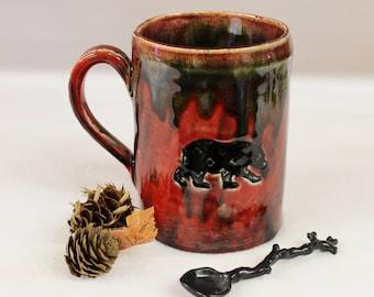 Black Bear Apocalypse Mug in Red, Extra Large Pottery Coffee Mug