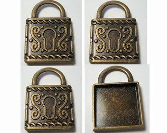 3pc Lock Finding Bronze Antiqued Brass Color