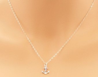 Anchor Necklace, Sterling Silver, Anchor Jewelry, Anchor Pendant, Silver Anchor, Simple Necklace, Sailor Necklace, For Her, BeadXS, Gift