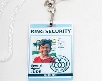 Ring Security ID Badge in Dusty Blue / Light Blue - Wedding Ring Bearer Alternative