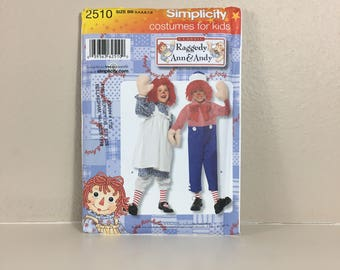 Raggedy Ann & Andy Kids Costume Pattern, Party Costume, Halloween Costume, Simplicity 2510, UNCUT, Size BB 3 - 8, 2009, Sewing Pattern