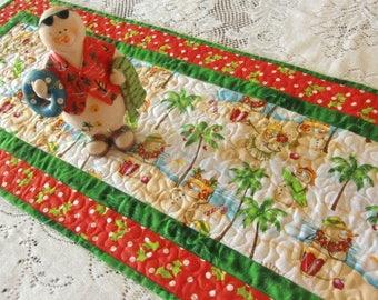 Beach Christmas Table Runner, Snowman Quilted Topper, Mele Kalikimaka, Hawaiian Holiday, Beach Home décor, OOAK Gift, Handmade in Hawaii