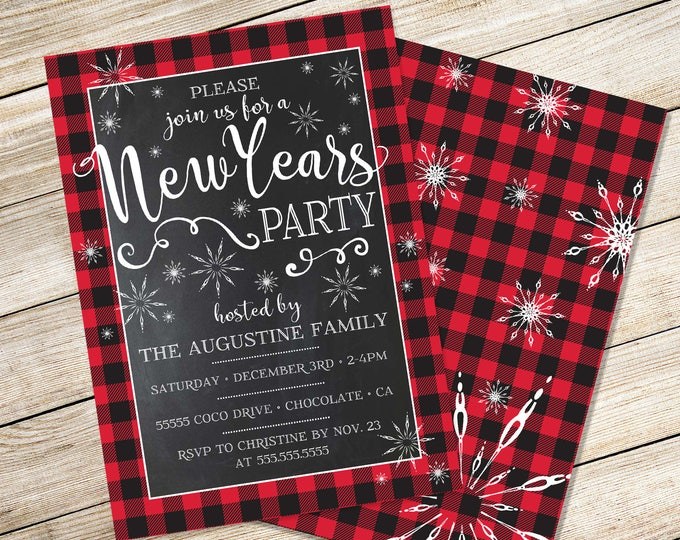 Buffalo Plaid New Year's Invitation - New Year's Eve Party - New Years Invite, EDITABLE Text | INSTANT Download D.I.Y. Printable PDF Kit