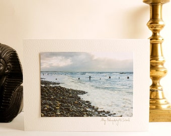 Greetings Card Personalise with wax seal  & inside message Stormy Irish Sea Beach Photograph-Ally Photography N. Ireland