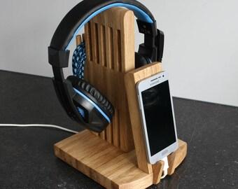 Handyständer+Kopfhörer Halter Kopfhörerständer SP5,headphone holder,headset stand ,Headphone hanger,Handy Ladestation Docking Station