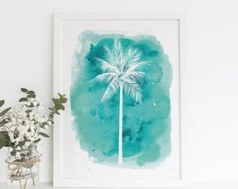 Teal Art Print, Palm Tree Print, Turquoise Decor, Beach Nursery, Beach Nursery Decor Teen Room Print, Bedroom Decor Printables, Coastal Life