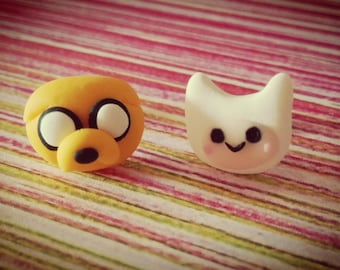 Pair of earrings of hour of adventures Finn and Jake made in fimo. Earrings Adventure Time Finn and Jake polimer clay