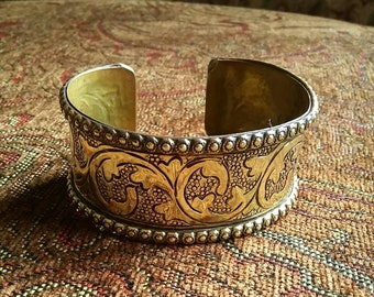Handmade Etched Brass Cuff Bracelet / Bangle