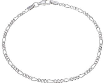 """Sterling Silver Figaro Bracelet 2mm 6.5"""" 7"""" 7.5"""" inches"""