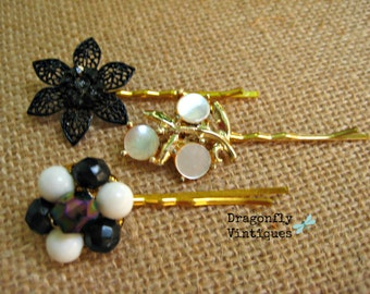 Vintage Hair Pins, Gold tone, Black, White, Set of 3, Thermoset, gift for her, bridesmaids, wedding, recycled,upcycled,repurposed jewelry/22