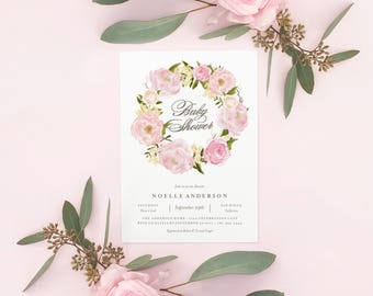 Editable Template - Instant Download Romantic Wreath Baby Shower Invitation