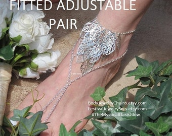 Sale Cosplay Chain barefoot sandals, Elven jewelry, woodland leaf anklet, Woodland wedding jewelry, foot anklet, toe ring, elven foot jewelr
