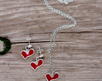 Silver Necklace Earrings Set, Heart Earrings, Heart Jewelry Set, Drop silver Earrings, Red Heart Necklace, Silver Heart Necklace, Gift