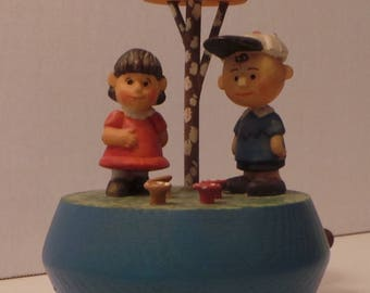 1972 ANRI PEANUTS Music Box Features Lucy and Charlie Under a Mushroom