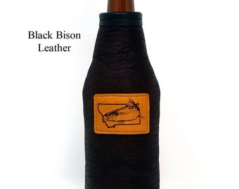 Custom Leather Beer Bottle Holder Men's Birthday Gift Beer Coolie Wedding Gift Genuine Bison Leather  Red Sky Stubby Holder Can Insulators