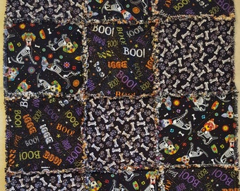 Small Holiday Rag Quilt - Dog Halloween Theme