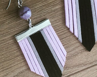 Lilac and black suede earrings