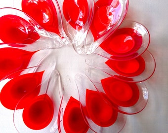 Murano Glass Chandelier Pieces x 24, Vistosi, 1970s Italy - Rare Red and White Glass Teardrop Shapes, Designer Light Fitting, Italy