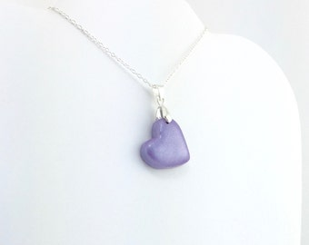 Medium Purple Heart Pendant - Simple Heart Necklace - Medium Purple Heart Necklace  - Wedding Jewelry, Bridesmaid Necklace - MADE to ORDER