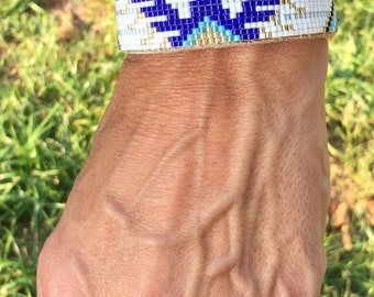 Thunderbird, Blue and White, Native American, Loom Glass Beaded, Leather Bracelet - Men's or Women's