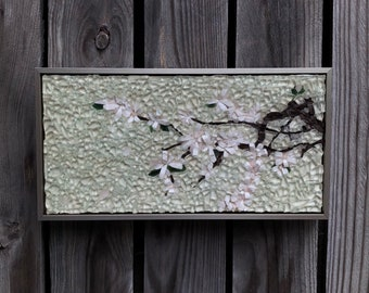 Cherry blossoms mosaic stained glass mosaic wall art