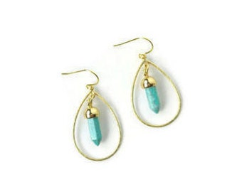 Aimee - Turquoise spike connector earrings