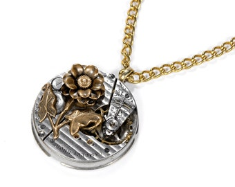 Steampunk Jewelry Necklace Swiss Pinstripe Womens Pocket Watch, Mixed Metals Brass ROSE, Mothers Day Gift GORGEOUS - Jewelry by edmdesigns