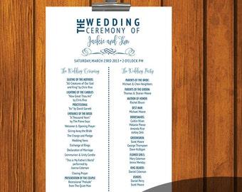 Traditional Wedding Program / Wedding Ceremony / Order of Wedding / Blue / White / Wedding / Program