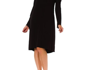 1930s Silk Crepe Long Sleeve Black Mourning Dress SIZE: S, 6