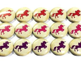 "Unicorn Magnet, 1"", Button Magnet, Unicorn Button, Unicorn Party Favor, Pink Unicorn Magnet, Unicorn Theme, Unicorn Decor, Red Unicorn, Pink"