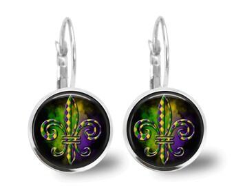 Mardi Gras Earrings Glass Tile Earrings Mardi Gras Jewelry Fleur de Lis Earrings Holiday Earrings Holiday Jewelry Fleur de Lis Jewelry